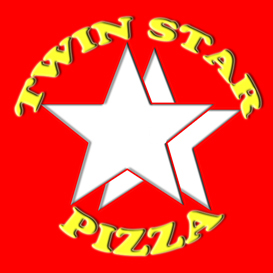 Twin Star Pizza LTD. Pizza shop. Braning, logo, website, leaflet design and printing. Islington, London, UK
