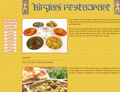 Bespoke website for Biryany Restaurant. London, UK.