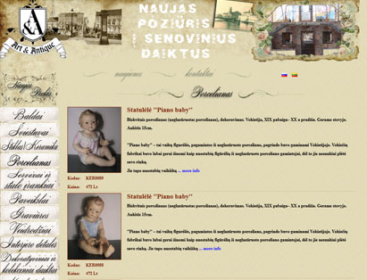 "Brand identity, website, bespoke web development, project management for antique off-line shop ""Art &Antique"". Daugavpils, Latvia."